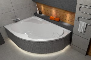 Badewanne Eckbadewanne Fortuna 170x100 cm links optional: Led-Verkleidung