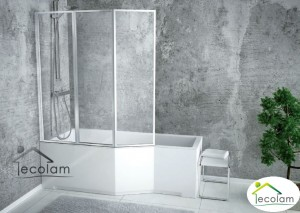 Badewanne Eckwanne Integra 150x75 cm Glasabtrennug links
